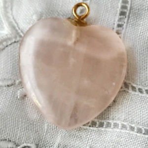 Jewelry - PINK ROSE QUARTZ HEART SHAPED PENDANT WITH GOLD